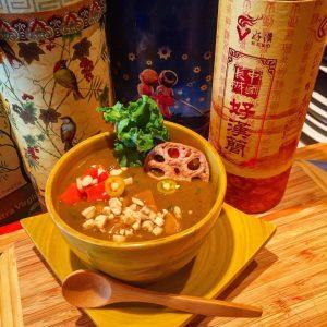 #pumpkinsoup3kinds #thaipeanut #lotuschip #papaya #peanuts #sumacspiced #chili's #ginger #curleykale #vegan
